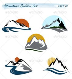 Mountains Emblem Set — Vector EPS #rock #symbol • Available here → https://graphicriver.net/item/mountains-emblem-set/1719504?ref=pxcr