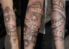music tattoo Dad Tattoos, Music Tattoos, Arm Tattoos For Guys, Trendy Tattoos, Forearm Tattoos, Cool Tattoos, Tattoo Arm, Star Tattoos For Men, Music Tattoo Designs