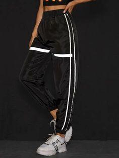 Ropa   Ropa Ofertas Online   ROMWE Romwe, Type Of Pants, Long Pants, Black Pattern, Fashion News, Elastic Waist, Contrast, Sweatpants, Clothes For Women