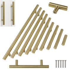 "Type: Hollow T Bar Handles. Mounting Screws are included,1""length,fit for 14-19 mm door thickness.If your drawer door is thicker. Material: Stainless Steel. Finish: Brushed Brass. Varied size and quantity can be selected. 
