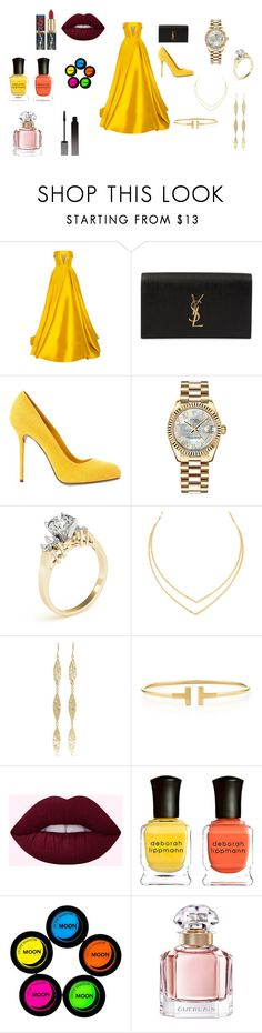 """Complete Yellow"" by stracyolivier on Polyvore featuring Alex Perry, Yves Saint Laurent, Sergio Rossi, Rolex, Lana, Jennifer Meyer Jewelry, Tiffany & Co., Deborah Lippmann, Guerlain and Serge Lutens"