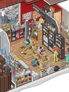 The interior of the Art Lebedev studio's Store and Big Café on Bankovsky pereulok Isometric Art, Isometric Design, Cute Illustration, Digital Illustration, Illustrations And Posters, Game Design, Pixel Art, Game Art, Sims