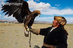 Kazak eagle hunter with eagle