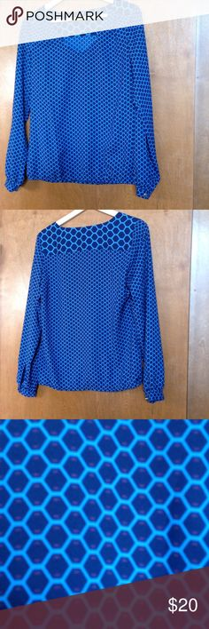 Ann Taylor Geometric Design Blouse Dark and light blue blouse with purple details.  Loose elastic waistband. 100% Polyester Ann Taylor Tops Blouses