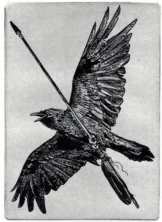 Raven artwork , Raven, crow,  black bird,  Arrow,   etching
