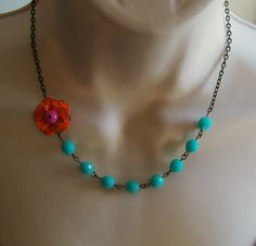 Orange Flower Beaded Neckace with Turquoise Czech Beads and Fuscia Center. Bridal Jewelry. Assymetrical. Colorful. Chunky
