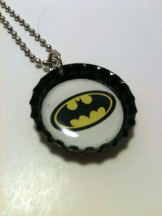 Batman bottle cap necklace by LillypadPark on Etsy, $4.95