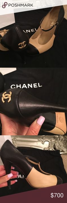 Chanel Heels Modern twist on Chanel classic. Beige and Black signature Chanel heels. T-strap, Lambskin leather. Impeccable condition. Authentic product only CHANEL Shoes Heels