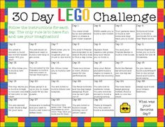 We put together a 30 Days of LEGO Play calendar. It's a great way to really challenge kids (or yourself) to create something new with their LEGO bricks! Lego Activities, Summer Activities For Kids, Summer Kids, Outdoor Activities, Kids Summer Schedule, Day Camp Activities, Stem Projects For Kids, Holiday Activities For Kids, Summer Games
