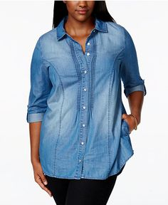 c77946a0 American Rag Plus Size Button-Down Denim Shirt, Created for Macy's &  Reviews - Tops - Plus Sizes - Macy's