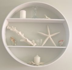 White coastal inspired circle shelf - I'd like to do this in a bathroom.