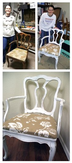 Refinished this chair at Dumpster Diva's workshop in McKinney - so much fun!!  Highly recommend it.  Used deglosser, chalk paint, and sandpaper..and new fabric.