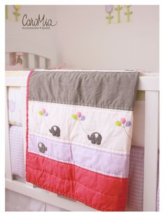 Quilt (manta acolchada) para bebes con aplicaciones de fieltro de elefantes con globos.   www.facebook.com/micaromia