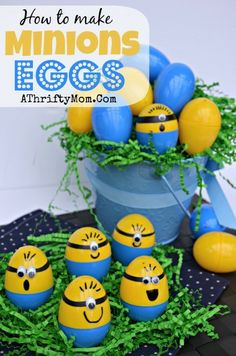 Homemade Minions Easter Eggs, DIY Easter Egg Decorating Ideas, Holiday Party Ideas