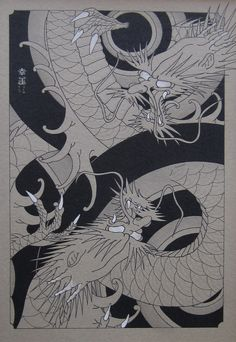 Sheets of Fortune: DRAGONS.  China ink and gouache on cardboard, cm 39,5 x 26,5.