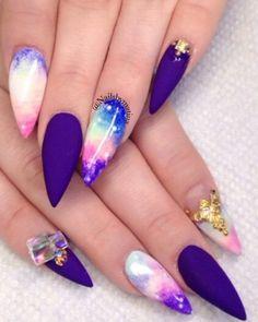 Purple galaxy matte stiletto nails