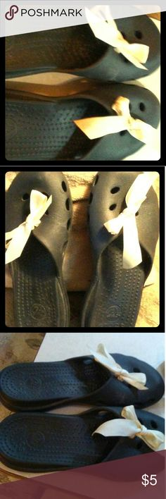 Crocs Crocs MaryJane Slip-on black with white ribbon tied in bow, very light weight, backless, very comfortable, great for summer & getting wet in water, lightly used and in good condition CROCS Shoes Mules & Clogs