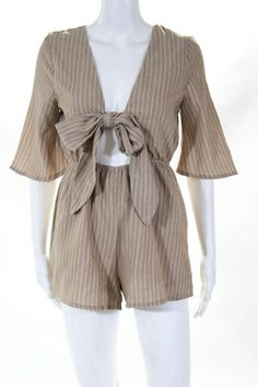 a08068f48ff Showpo Womens Striped 3 4 Sleeve Wrap Romper Brown White Cotton Size 2   fashion  clothing  shoes  accessories  womensclothing  jumpsuitsrompers  (ebay link)