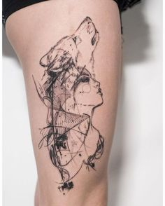 Sketchy Geometric Woman Transforming to Wolf Thigh Tattoo