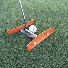 Putting Aid for Golf - Portable Golf Putting Alignment and Aim Practice Training Tool - Compatible with All Putter Styles and Works on any Golf Putting Green. TIBA Putt, Made in USA. - Orange