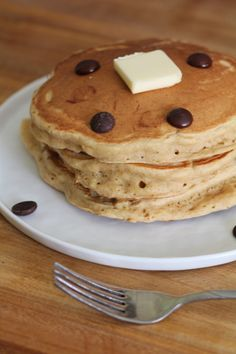Banana Peanut Butter Chocolate Chip Pancakes from Pidges Pantry