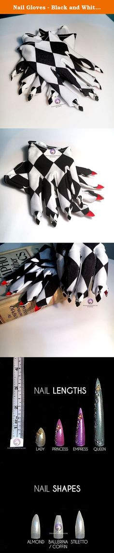 Nail Gloves - Black and White Harlequin Cropped Mini Gloves. Cropped mini gloves where the harlequin pattern continues all the way to the nails (with a sexy red underside)! Each nail features an individual metal stud and for each hand, a single bling'd accent nail with black and clear Swarovski crystals. One of a kind, handcrafted, and guaranteed to take your look to a whole new level.