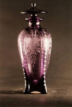 Steuben, Amethyst Glass - Rare Shape , Malaya pattern is perfume more attractive if it is in a beautiful bottle? from perfumebottles,org