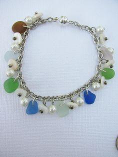 Seaglass Bracelet, Beach Glass Jewelry, Genuine Sea Glass