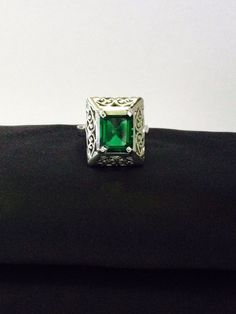 3.08 Ct Lab Created Emerald Vintage Carved Cocktail Ring in 925 Silver Size 7 #RegaaliaJewels #Cocktail #Christmas