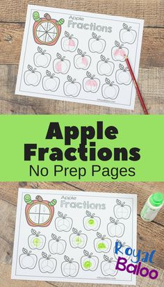 Make learning fractions with these fun apple fractions pages. Fractions can be a game for kids so they'll want to learn and practice more. Learning Fractions, Fractions Worksheets, Teaching Math, Kindergarten Math, Preschool, Apple Activities, Math Activities For Kids, Number Activities, Maths Fun