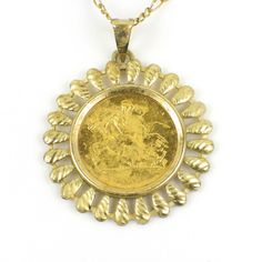 Half sovereign pendant necklace. Half sovereign pendant necklace. The 2009 22 ct yellow gold half sovereign set in 9 ct yellow gold mount to a 9 ct yellow gold chain. Chain length 510 mm / 80 in. Total weight 8.4 grams.