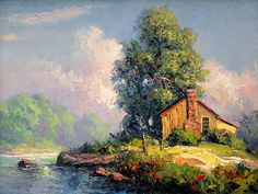 "rosiesdreams: ""A little home in the country . By American artist Dalhart Windberg "" Landscape Pictures, Nature Pictures, Art Pictures, Watercolor Landscape Paintings, Landscape Art, Cottage Art, Pastel Art, Beautiful Landscapes, Scenery"