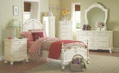 The Cinderella Youth Bedroom Set by Homelegance is your little girl's dream bedroom. The Victorian styling incorporates floral motif hardware  ecru painted finish and traditional carving details that will create the feeling of a room worth of a fairy tale princess.