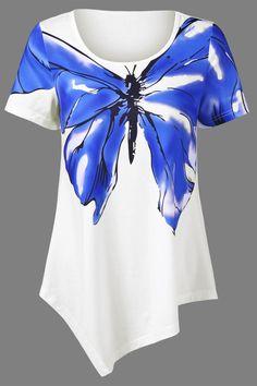 $13.02  Butterfly Print Asymmetrical T-Shirt - White