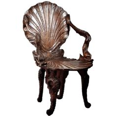 Late 19th Century Rare Italian Shellback Grotto Chair ($2,375) ❤ liked on Polyvore featuring home, furniture, chairs, walnut furniture, walnut chair, ornate furniture and walnut wood furniture