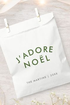"""Simple, stylish J'adore Noel"""" quote art holiday favor bags with modern, minimalist typography in forest green in a trendy festive style. The quote translates to """"I love christmas"""" in French. The greeting, name and year can be easily personalized for the perfect design for the xmas season to stand out from the crowd! #jadirenoel #christmas #french #favorbags Favor Bags, Xmas, Christmas, Festival Fashion, Art Quotes, Favors, Typography, Minimalist, Holiday"""