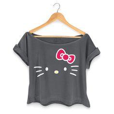 T-shirt Premium Feminina Hello Kitty Black #bandUPStore #HelloKitty #Fashion