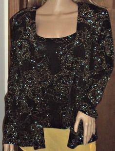 Alex Evenings Twinset Womens XL Gold Glitter Black Floral Jacket Cami Tank Top