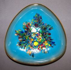 Mid Century Kareka Teal Enamel On Copper Kaleidoscope Dish