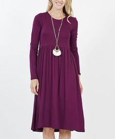 40874fcd5 Dark Plum Long-Sleeve Shirred Empire-Waist Pocket Dress - Women & Plus