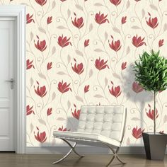 This Synergy Floral Glitter Wallpaper in red, gold and cream has matte, metallic and glitter elements to give the traditional design a modern twist. Free UK delivery available Marble Wallpaper Phone, Bold Wallpaper, Glitter Wallpaper, Trendy Wallpaper, Pattern Wallpaper, Tree Wallpaper Bedroom, Living Room Wallpaper Red, Glitter Bedroom, Cool Wallpapers For Phones