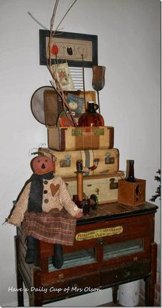 suitcase and fall display