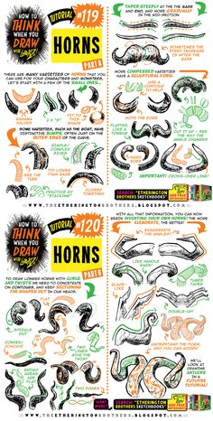 How to THINK when you draw HORNS tutorial! by EtheringtonBrothers on DeviantArt Drawing Skills, Drawing Lessons, Drawing Techniques, Drawing Tips, Drawing Reference, You Draw, Learn To Draw, Love Drawings, Animal Drawings