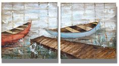 Row Your Boat On Barn Wood  2-28x28 Outdoor Furniture, Outdoor Decor, Barn Wood, Decoration, Hammock, The Row, Original Art, The Originals, Boat