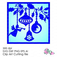 Christmas Card Ornament Hanging Baubles ball Хмаs Noel (svg, dxf, ai, eps, png) Overlay Cut, Diecutting Silhouette Cameo EasyCutPrintPD