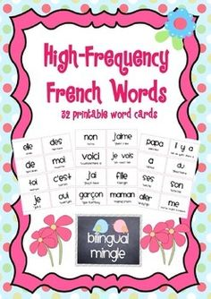 {French High-Frequency Word Cards with English Pronunciati French Alphabet Pronunciation, French Crafts, French Education, Core French, Literacy Programs, Jolly Phonics, French Classroom, High Frequency Words, French Immersion