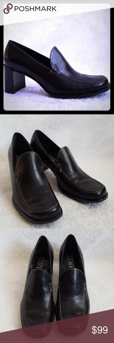 """Like New! Franco Sarto Black Leather Heels Classic and timeless style. Franco Sarto black leather loafer style heels with 2 1/2"""" heel. Made in Brazil.   Like new! Excellent condition. Smoke free and pet free home.   Check out my other listings - 100's of 👠shoes👠, 👢boots👢 and 👜bags👜. Bundle 2 or more and save money!💲💰💲 Franco Sarto Shoes Heels"""