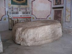 A slab of chalk rock that according to a tradition was the rock on which Jesus ate with his disciples after rising from the dead. The church is located in a small alley (road #6126), above the church district in the old city (market) of Nazareth. It can be accessed only by foot by a long walk down a steep road (#6139) from the Carmelite Convent, or above the Synagogue church (on road #6126, past the Maronite church).