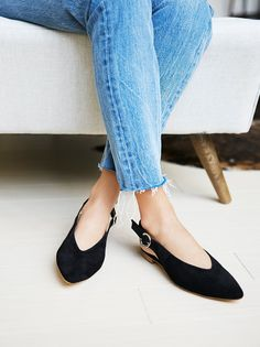 Monte Rosa Flat   Suede pointed toe flats with an adjustable buckle in back and elastic band for easy wear. Padded footbed for a more comfortable fit.