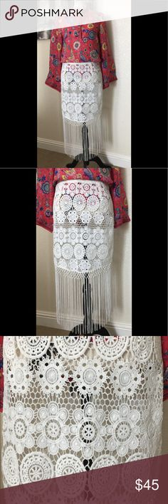 Boho floral crochet fringe skirt🌈✨🌸 Gorgeous NEW boho crochet floral fringe skirt.🌈✨🌸 Measures 32 inches waist and 31 inches in length. 😉Check our my other items for more amazing boho items for women and children.💖Bundle and pay only once for shipping, plus get an additional discount! 💰 The more you bundle, the more you save!🤗 Skirts